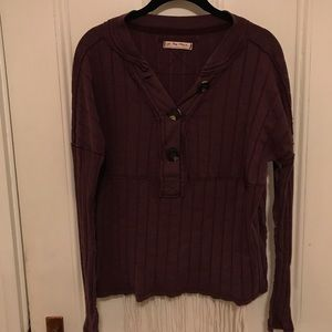 Free People Purple Button-down Top